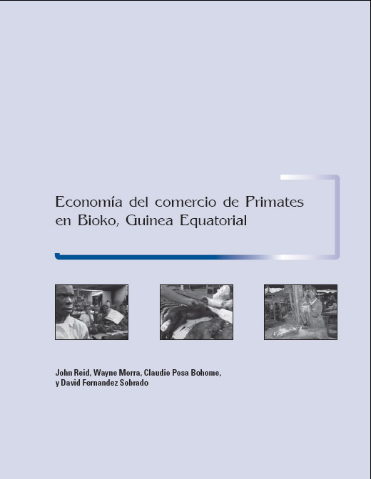 Front cover of report showing photos of people and monkeys in the Bioko markets