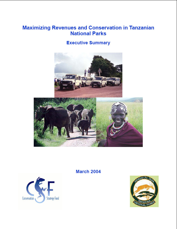 Front cover of report w/ photos of elephants, safari vehicles, & maasai girl