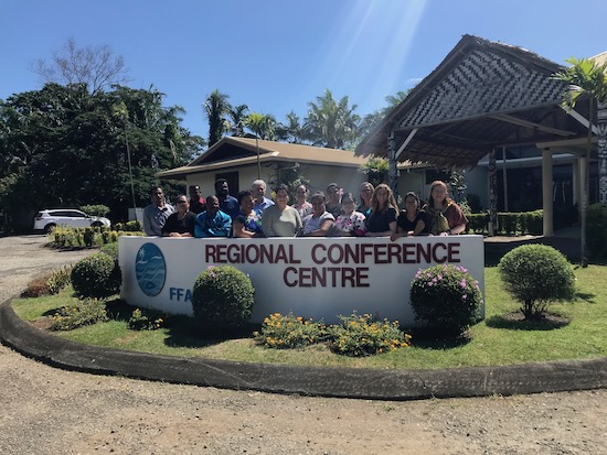 Pacific Ocean FInance Fellows workshop group in front of the FFA Regional Conference Center in Honiara, Solomon Islands